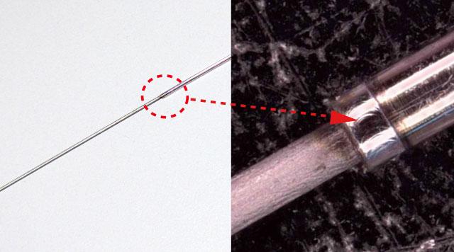 SUSパイプ+チタンワイヤ接合